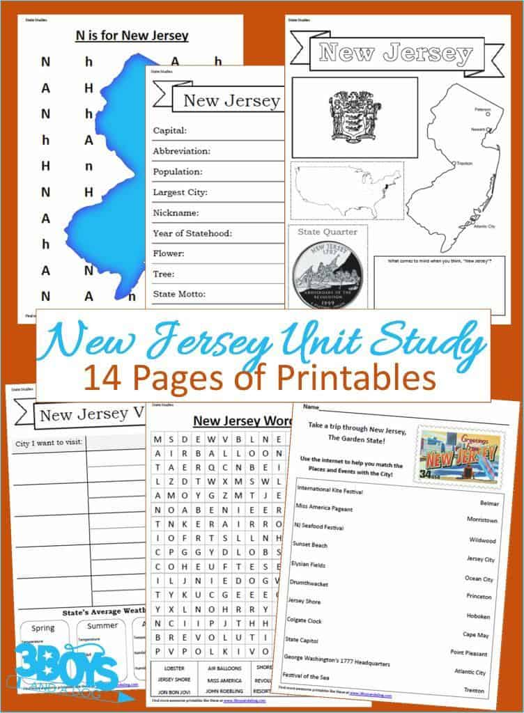 14 Pages of Printables: New Jersey State Unit Study