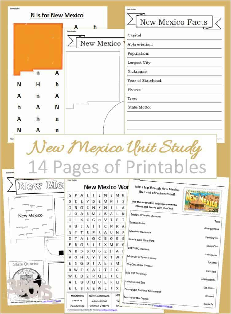 New Mexico State Fact File Worksheets 3 Boys And A Dog