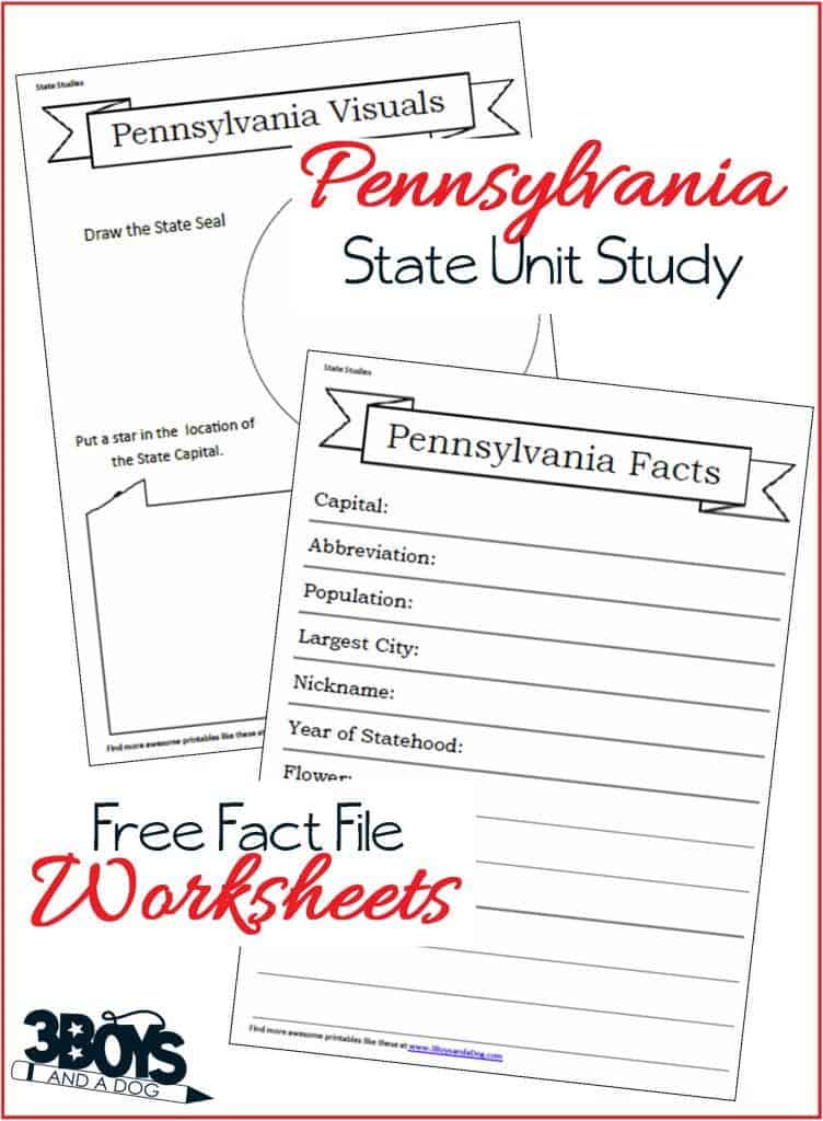 Free Worksheets: Pennsylvania State Fact Files