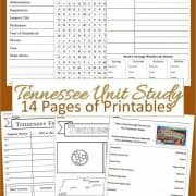 Tennessee Unit Study 14 pages of printables