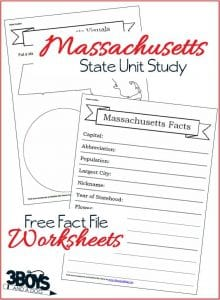 Massachusetts State Fact File Worksheets