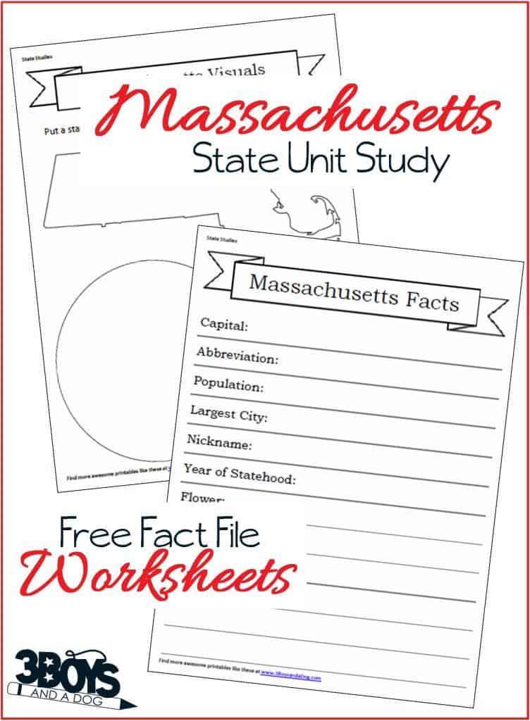 Massachusetts State Fact File Worksheets