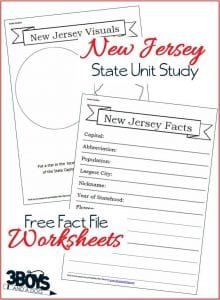 New Jersey State Fact File Worksheets