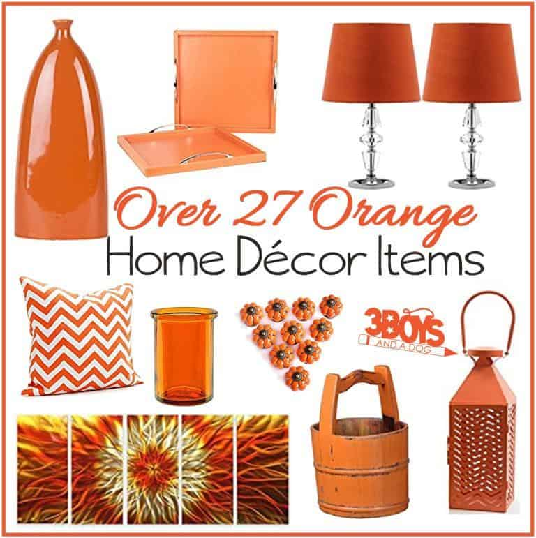 Orange home decor accent pieces 3 boys and a dog for Home decoration pieces