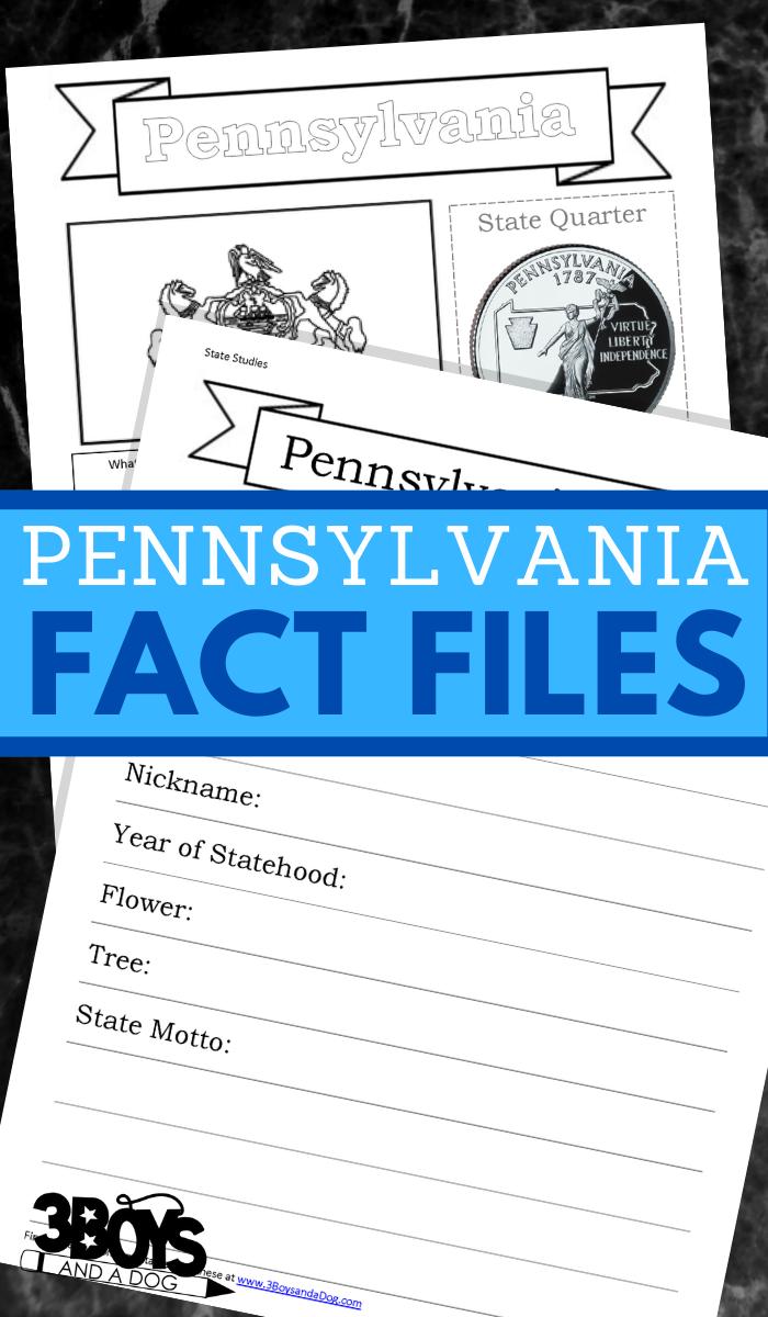 Pennsylvania State Fact File Worksheets