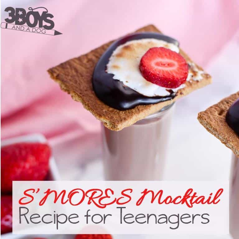 This Smores Mocktail Recipe for Teens tastes just like (and even includes one as a garnishment) sticky, gooey, chocolaty, S'MORES!