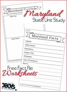 Maryland State Fact File Worksheets