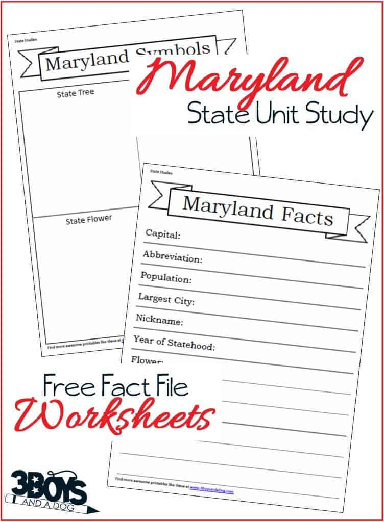 Maryland State Fact Files Worksheets