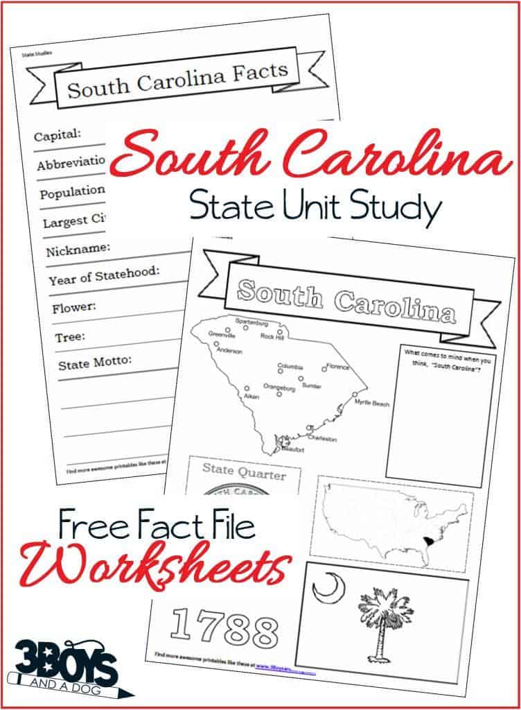 South Carolina Fact File Worksheets