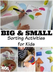 Big and Small Sorting Activities for Kids
