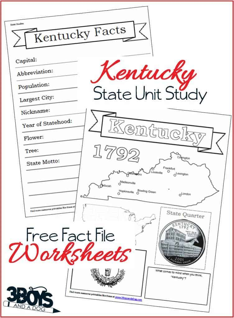 Kentucky State Fact File Worksheets 3 Boys And A Dog