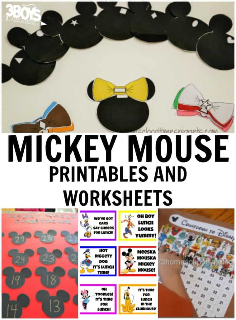 Mickey Mouse Printables and Worksheets – 3 Boys and a Dog – 3 Boys ...