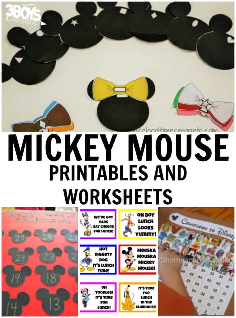 Mickey Mouse Printables and Worksheets