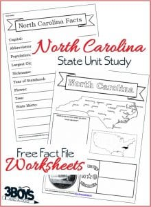 North Carolina State Fact File Worksheets