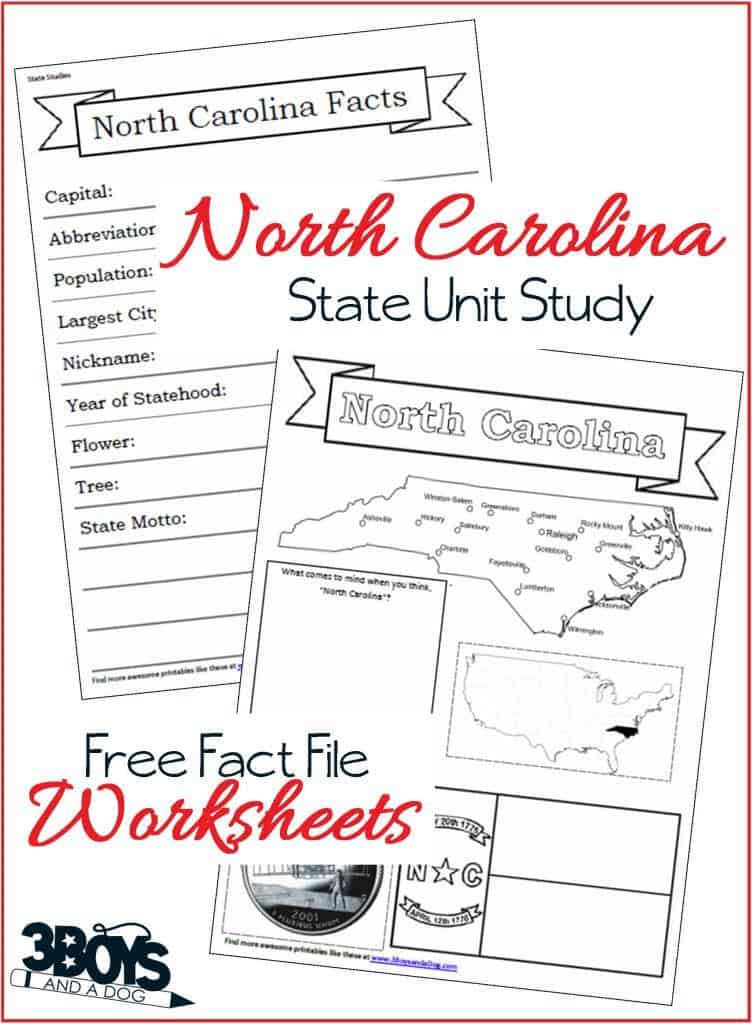 North Carolina State Fact File Worksheets 3 Boys And A Dog