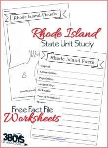 Rhode Island State Fact File Worksheets