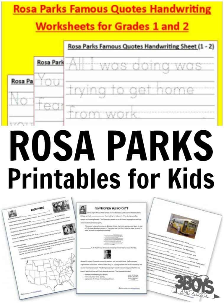 Rosa Parks Printables for Kids 3 Boys and a Dog 3 Boys and a Dog – Rosa Parks Worksheet