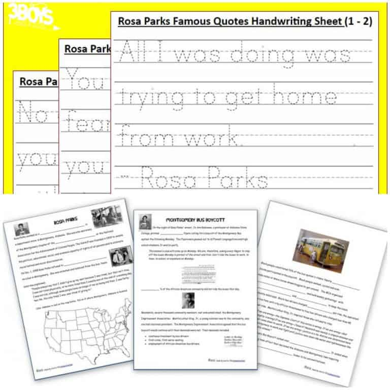 Rosa Parks Printables for Homeschool