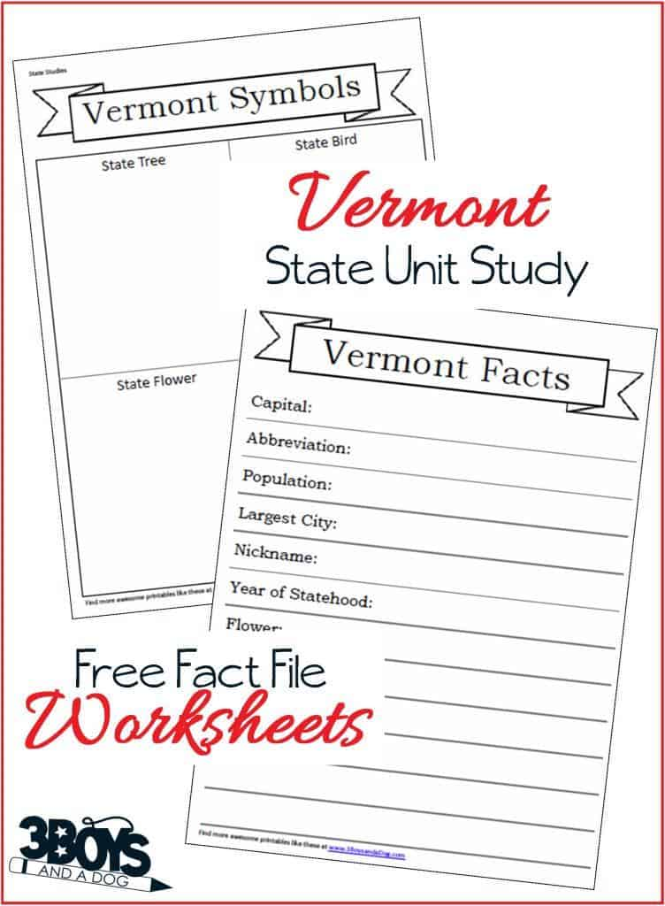 Vermont State Fact File Worksheets
