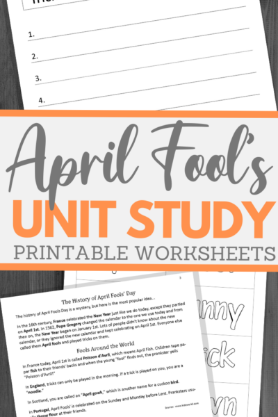 fun printable April Fool unit study guide for multiple grades