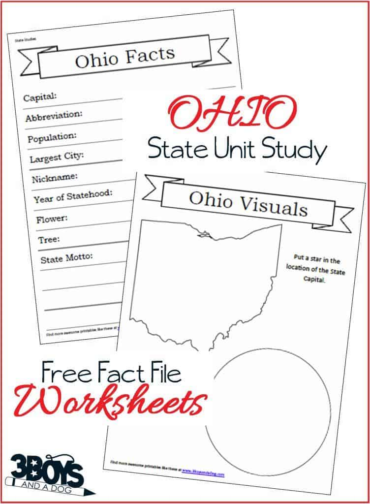 Ohio State Fact File Worksheets 3 Boys And A Dog