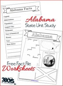 Alabama State Fact File Worksheets