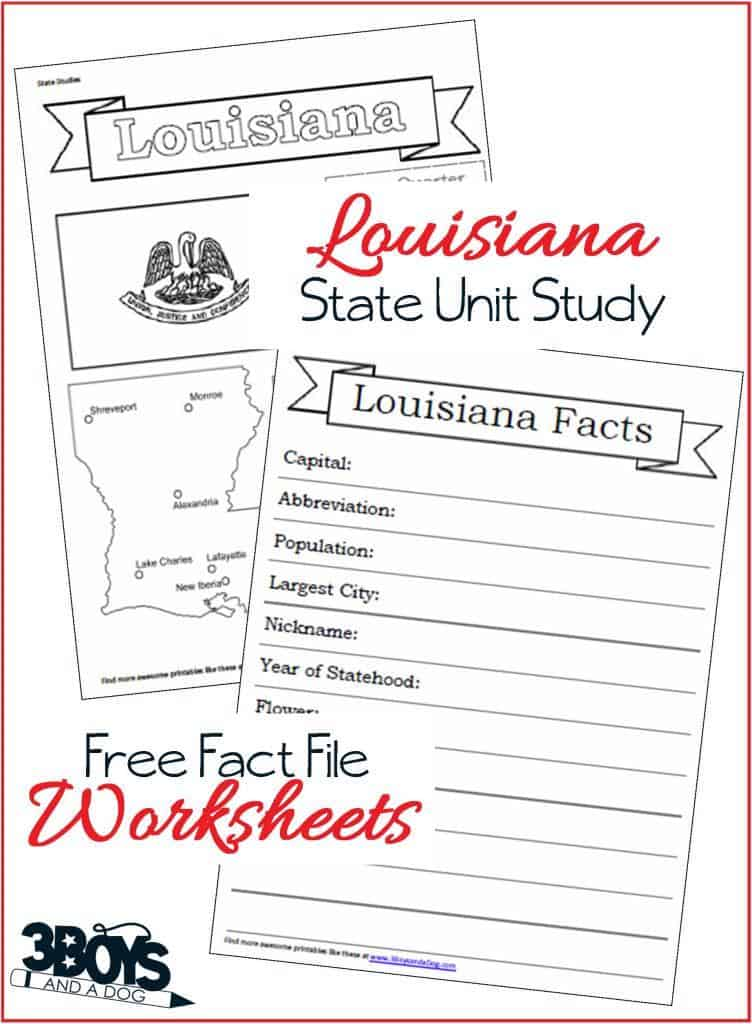 State of Louisiana Fact File Worksheets
