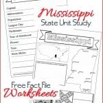 Mississippi State Fact File Worksheets