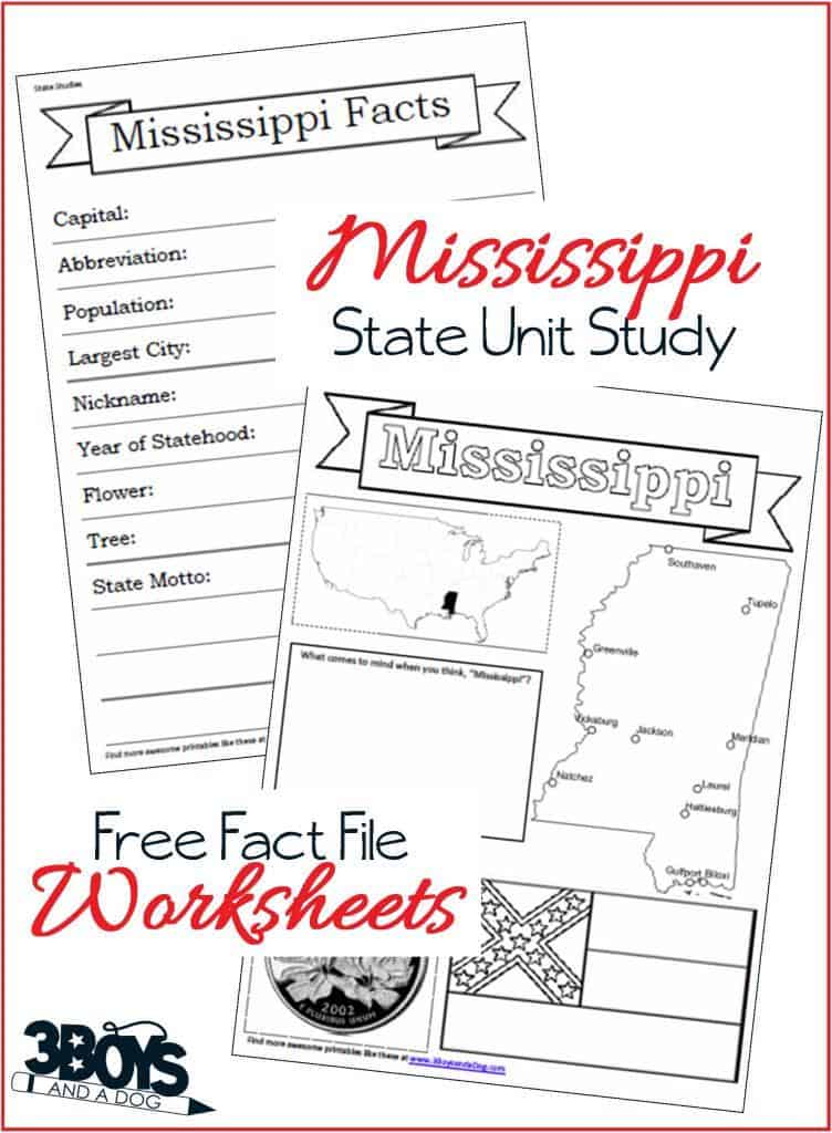 Mississippi State Fact File Worksheets 3 Boys And A Dog