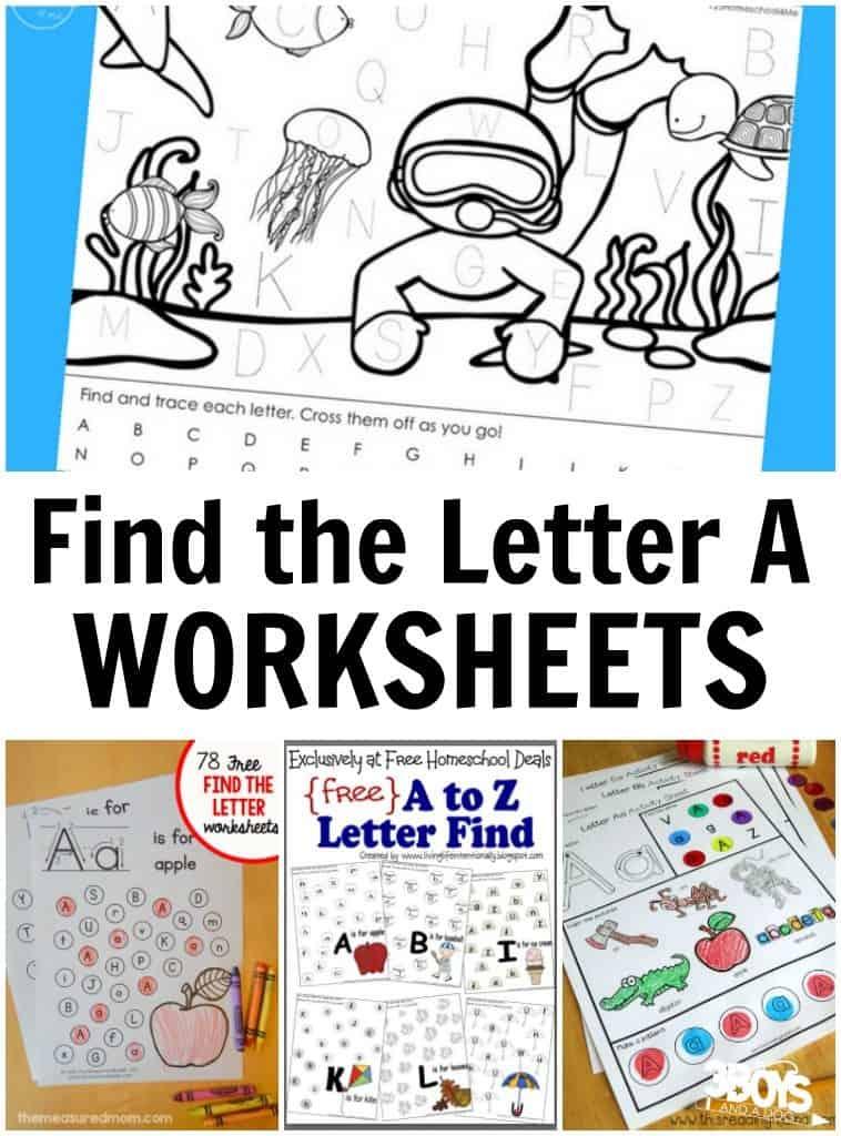 Find the Letter A Worksheets