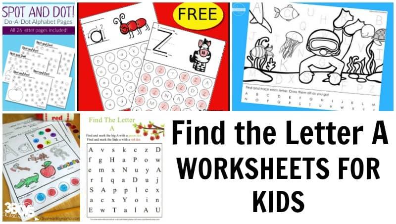 Find the Letter A Worksheets for Kids