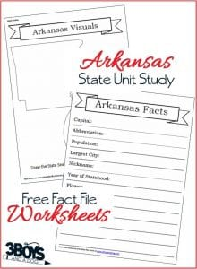 Free Arkansas State Fact File Worksheets