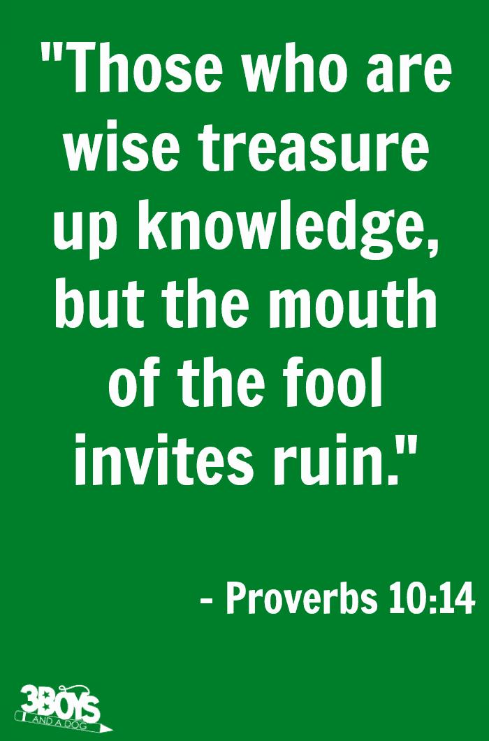 Proverbs 10 verse 14