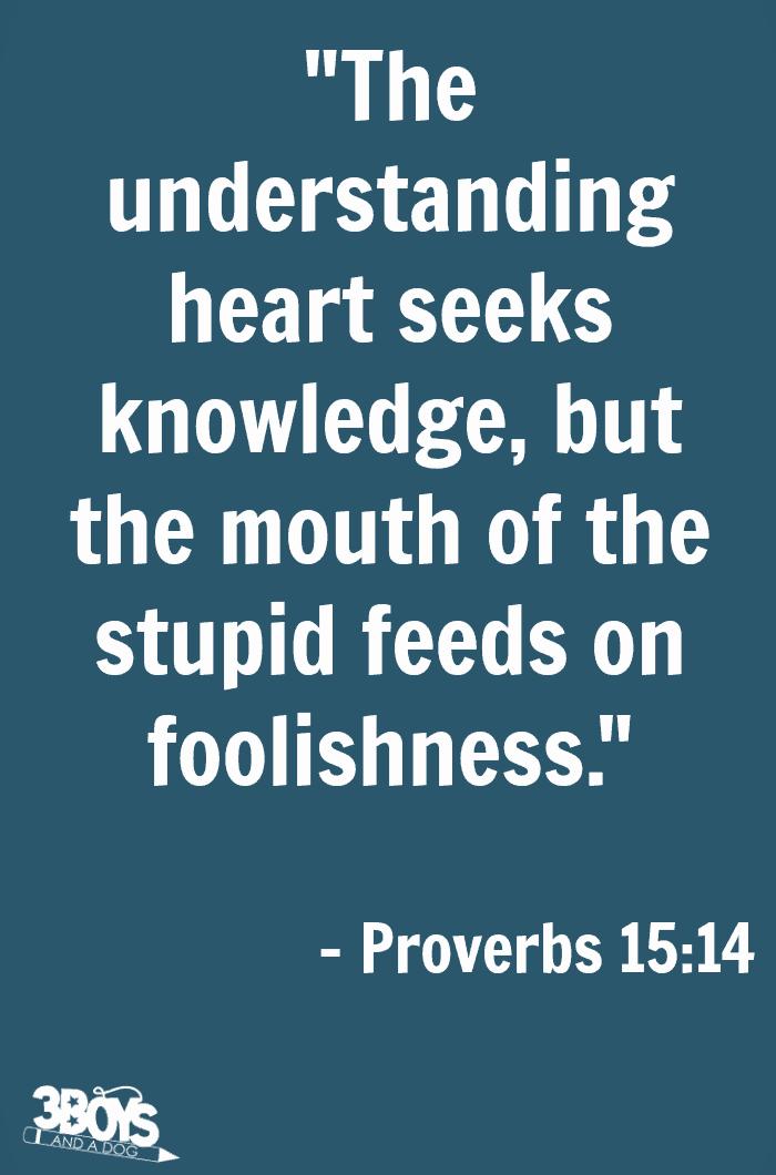 Proverbs 15 verse 14