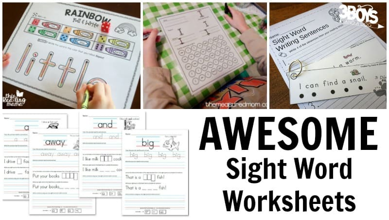 Sight Word Worksheets for Kids