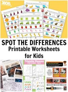 Spot the Differences Printable Worksheets