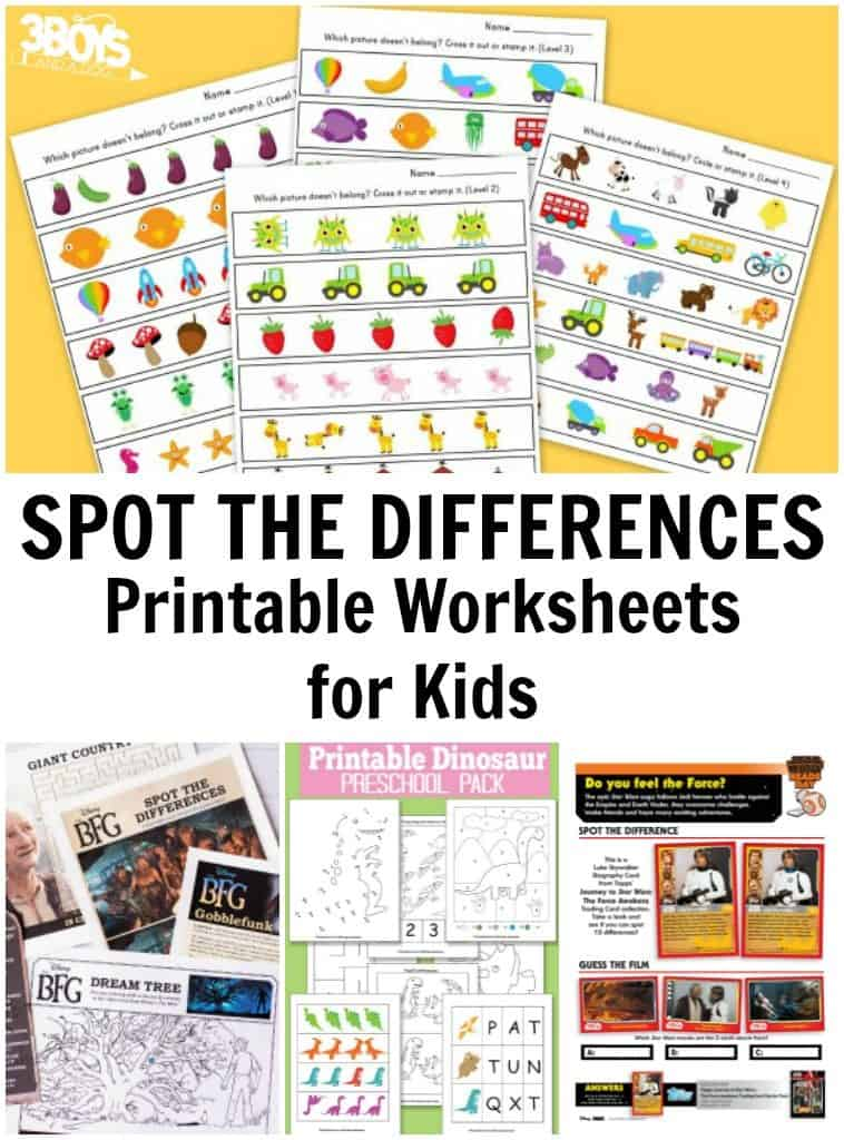 picture about Spot the Difference Printable identified as Location the Dissimilarities Printable Worksheets 3 Boys and a Pet dog