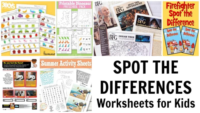 Spot the Differences Printable Worksheets for Kids