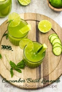 refreshing cucumber basil limeade beverage