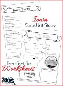 Iowa State Fact File Worksheets