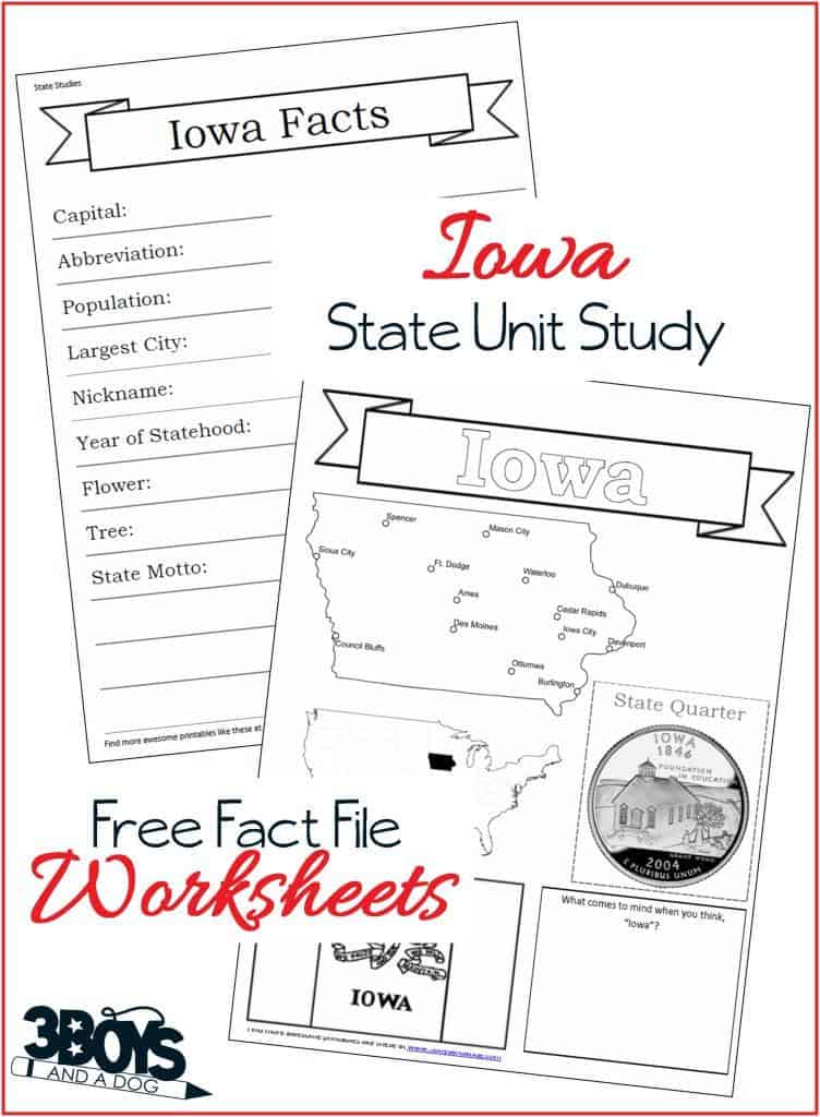 These Iowa State Fact File Worksheets are the perfect worksheets to help you and your child record many facts about the state of Iowa.