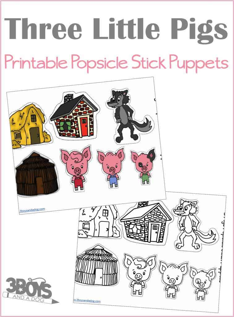 Continue the Three Little Pigs story with these printable popsicle stick puppets