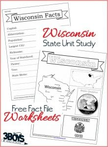 Wisconsin State Fact File Worksheets