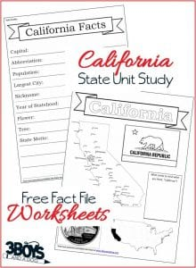 California State Fact File Worksheets