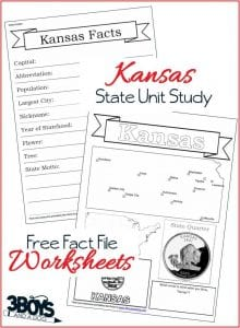 Kansas State Fact File Worksheets