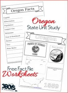 Oregon State Fact File Worksheets