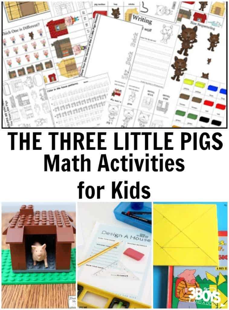 Three Little Pigs: Math Learning Activities – 3 Boys and a Dog – 3 ...