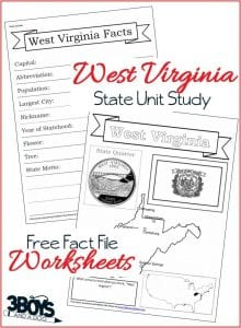 West Virginia State Fact File Worksheets