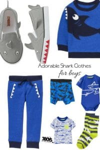 these adorable shark outfits for boys include shark-themed shirts, shorts, pants, PJs, and even shark-themed shoes below that young boys will love.