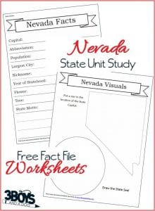 Nevada State Fact File Worksheets